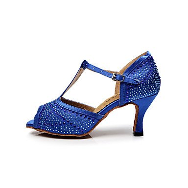 XIAMUO Women's Dance Schuhe Satin Satin Latin/Salsa Sandalen Stiletto Heel Professional/innen Schwarz/Blau/Lila Lila