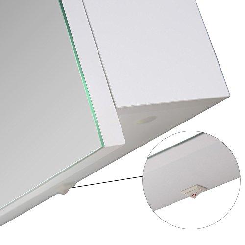 Eurosan 2-türiger Spiegelschrank, Superflach, Integrierte LED-Frontbeleuchtung, Breite 100 cm, Weiß, Sydney, S100 - 4