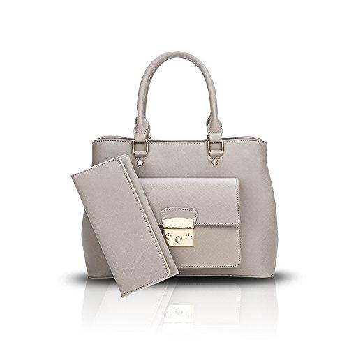 Sunas Le nuove donne dell'inarcamento della serratura di modo della borsa delle signore portano il raccoglitore casuale del sacchetto del pendente della spalla grigio chiaro