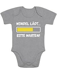 Shirtgeil Windel Lädt, Bitte Warten! - Lustige Babykleidung Baby Body Kurzarm-Body