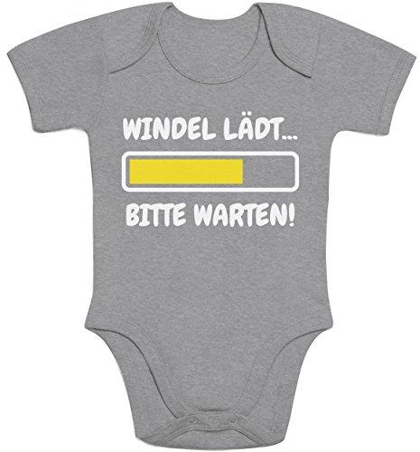 Windel Lädt, Bitte Warten! - Lustige Babykleidung Baby Body Kurzarm-Body Newborn Grau