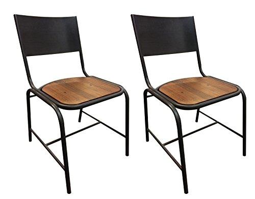 Lot de 2 chaises Design Style Industriel en métal et Bois d'acacia brossé/Facture et Finitions soignées - Collection Workshop