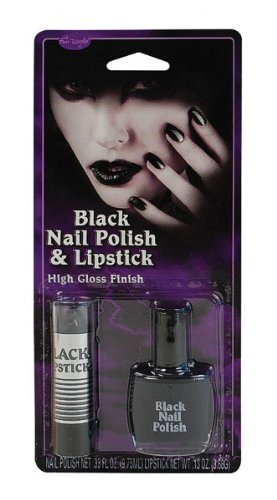 Black Nail Polish & Lipstick