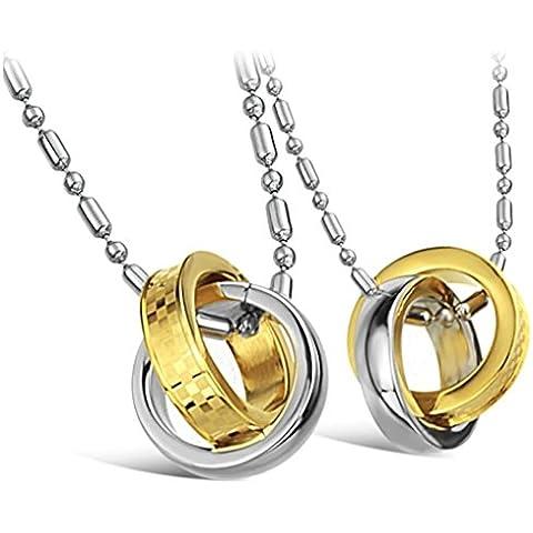 Daesar 2Pcs Conjunto de Joyer¨ªa Colgante Collares Acero Mujer Hombre, Plata Oro Anillos Joya Regalos Colgantes Enamorados para
