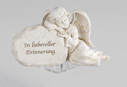 Grabschmuck Grabstein Engel am Stein Gedenkstein Spruch Grabdeko Grab Deko (Grabstein Engel)