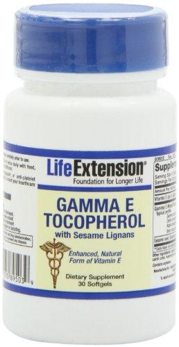 Life Extension, Tocophérol Gamma E, avec lignanes de sésame, 30 Capsules