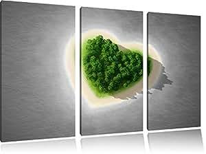 Île Sweet coeur noir / blanc sur l'image 120x80 sur toile 3-pièces de l'image de la toile, énorme XXL Photos complètement encadrée avec civière, art impression sur murale avec cadre, gänstiger comme la peinture ou la peinture à l'huile, aucune affiche ou un poster