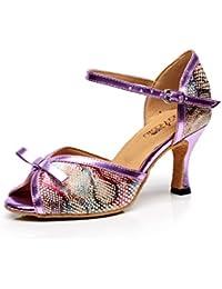 JSHOE Women's Latin Tanzschuhe Salsa/Tango/Chacha/Samba/Modern/Jazz Schuhe Sandalen High HeelsA-heeled7.5cm-UK3.5...