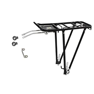"""Ventura Screw On ll - Soporte trasero para bicicleta (aluminio; ajustable para tamaños 24/26/28""""), color negro"""