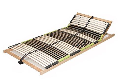 7 Zonen Lattenrost Lattenrahmen zerlegt Lattenrost 'DaMi Relax Kopf' mit 42 Federholzleisten und Kopfverstellung (100 x 200 cm)