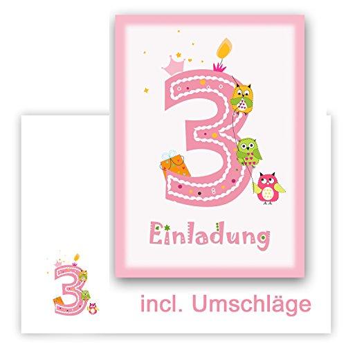 6 Einladungskarten Kindergeburtstag Zum 3. Geburtstag In Rosa Mit Eulen,  Incl. Passender Umschläge