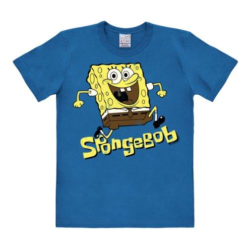 T-Shirt Schwammkopf - Jumping - Spongebob - Rundhals T-Shirt von Logoshirt - blau - Lizenziertes Originaldesign, Größe M
