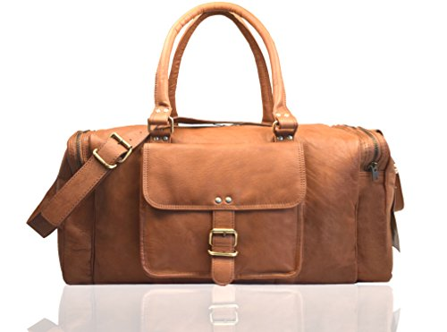Leaderachi Leather Travel Duffel Bag [La Spezia Tan]