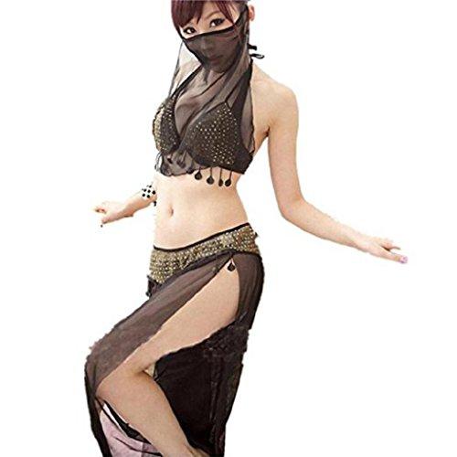 rd Frauen Arab Style Kostüm Schwarz sexy Dessous BH + Unterkleid + Schleier Set Unterwäsche Anzug (Schwarz) (Paare Cosplay Kostüme)