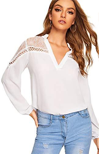 Damen Freizeit Lange Ärmel V-Ausschnitt Blumen Bluse Elegante Frauen Tunika Oberteile Vintage Hemd T-Shirt (Weiß, Medium) - Rock Und Bluse