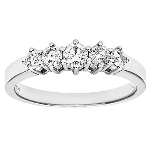 Naava - PR03649W-L - Anillo de mujer de oro blanco (9k) con 5 diamantes (talla: 12)
