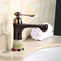 ZQDL European Style Gold Jade Pure Copper Bathroom Sink Faucet Single Handle Single Hole Faucet Hot and Cold Water