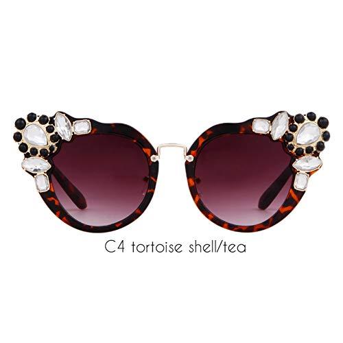 ZRTYJ Sonnenbrille Übergroße Barock Cat Eye Sonnenbrille Frauen Marke Retro Vintage Strass Diamant Cateye Sonnenbrille Shades