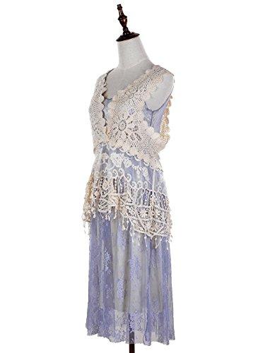 Anna-Kaci Frauen Vintage Zweiteiler Häkel Spitze Blumen gestrickt Rüsch Gastby 1920s ärmellos Vertuschung Kleid Blau