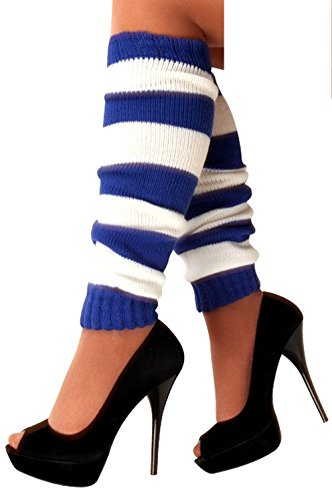 krautwear Damen Beinwärmer Stulpen Legwarmers Overknees gestrickte Strümpfe 80er Jahre 1980er Jahre, 1xblau/Weiss, Einheitsgröße