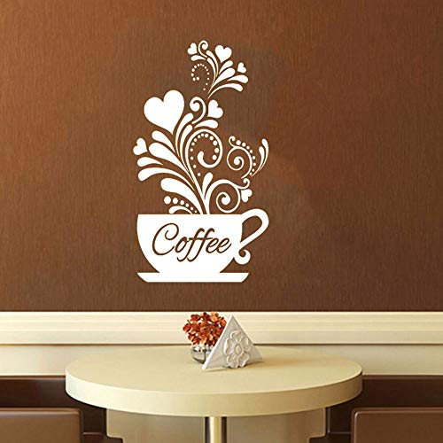 Runinstickers Wandaufkleber Weiß Creative Flower Vine Kaffeetasse Wall Sticker Wasserdichte Vinyl Carving Home Decor Küche Wand Aufkleber