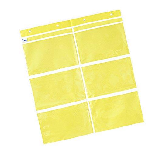 D DOLITY Hängeaufbewahrung Hängeregal Hängeorganizer Seitentasche Stoffschrank für Bücher - Gelb 6 Slots 'd-bücherregal