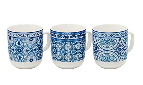Kaffee-Becher Kaffeetasse groß Porzellan Teetasse Geschenk-Tasse Trinkbecher Mug 380 ml von DUO in Geschenkbox (3er Set Mexiko)