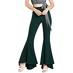 Yacun Mujeres Pantalones De Campana De Fondo Stretchy Pants Flare Slim Darkgreen XS