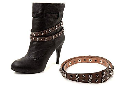 """La Loria - catena di stivali per le donne """"Skull Rock"""" catena di scarpe, gioielli accessorio con vera pelle per abbellire le scarpe colore marrone - 1 Coppia"""