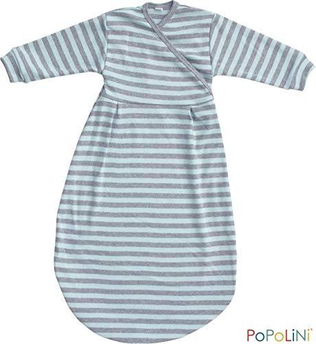 Popolini Felinchen Interlock GOTS Langarm Blue Grey Striped Gr. 74/80