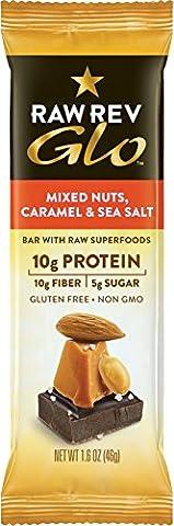 Glo, Mixed Nuts Caramel sel de mer, 12 bars, 1,6 oz (46 g) Chaque - Révolution Raw
