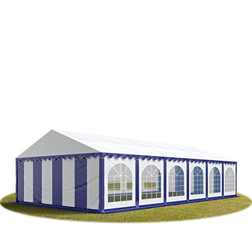 Carpa de eventos y fiestas 6x12 m500 g/m² PVC PREMIUM - con un cuadro base perimetral - en azul-blanco