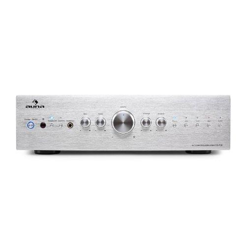 Auna cd708 • amplificatore hi fi • 600 w max • 5 ingressi rca • equalizzatore a 3 bande • telecomando • pannello frontale in alluminio • argento