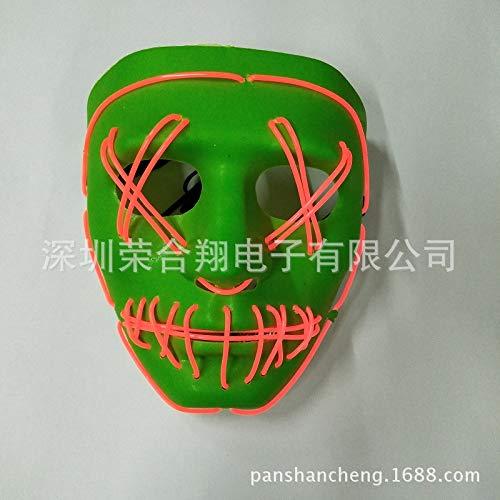 Kostüm Tanz Benutzerdefinierte - Ya2&Ya Halloween Maske, EL Kaltlicht Maske Glow Ball Maske Benutzerdefinierte Halloween Party Horror Ghost Gesicht Tanz Jubel Licht Requisiten
