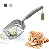 Andiker Metal Cat Litter Scoop Durable Large Litter Box Sifter with Ergonomic Long Handle and Large Holes Slot Pet Litter Shovel Easy to Clean (grey)