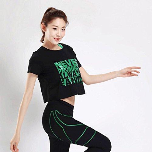 PRIDE S Vêtements de yoga Élasticité Combinaison de fitness Essai de remise en forme à séchage rapide Ensemble de traction à trois pièces Vert