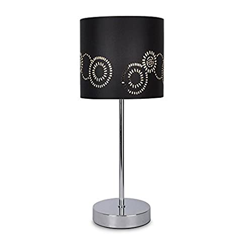 Modern Silver Chrome Touch Table Lamp with a Laser Cut