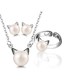 FANSING día de Gracias Navidad Regalo Gato Juegos de joyas Anillos Collar Pendientes Plata De Ley 925 Perla de Agua Dulce Original
