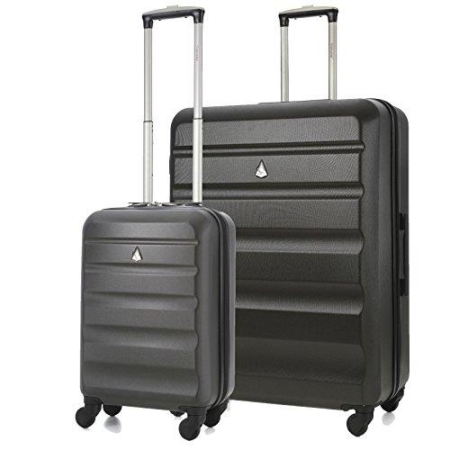 Aerolite Leichtgewicht ABS Hartschale 4 Rollen Trolley Koffer Reisekoffer Hartschalenkoffer Rollkoffer Gepäck 55cm + 79cm, Kohlegrau
