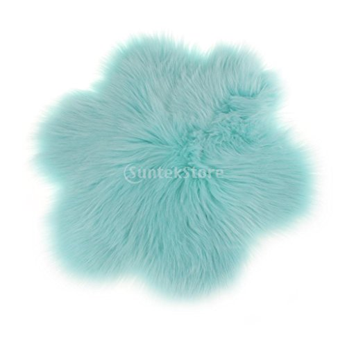 Baoblaze Kunstfell Künstliche Schaffell Teppich, Blumen-Design Bettvorleger in verschiedenen Farben - blauer See