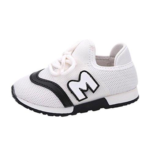 Babyschuhe Sommerschuhe Mädchen Hausschuhe Hirolan Sportschuhe Kleinkind Turnschuhe Kinder Sport Laufen Baby Schuhe Jungen Brief Mesh Schuhe Krabbelschuhe (21, Weiß) (Jungen Baby-schuh Weißen)