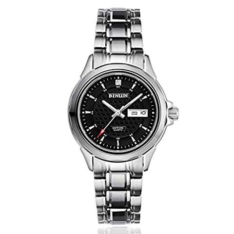 binlun Damen Edelstahl Japanisches Quarz-Uhrwerk Luminous Armbanduhr mit Tag & Datum, schwarzes Zifferblatt