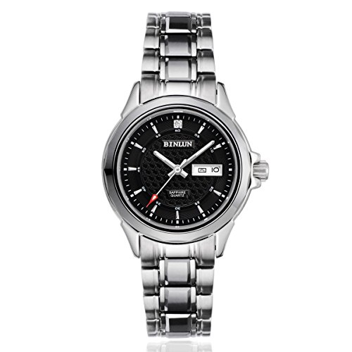binlun-womens-stainless-steel-japanese-quartz-movement-luminous-wrist-watch-with-day-date-black-dial