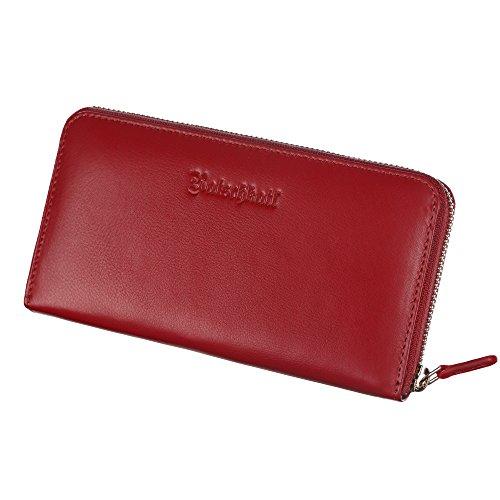 Portemonnaie Damen Groß Frauen - Handgefertigt mit Reißverschluss + vielen Kartenfächern - Portmonee - Geldbeutel - Wallet - Clutch (Rot) (Clutch Vintage Gefütterte)