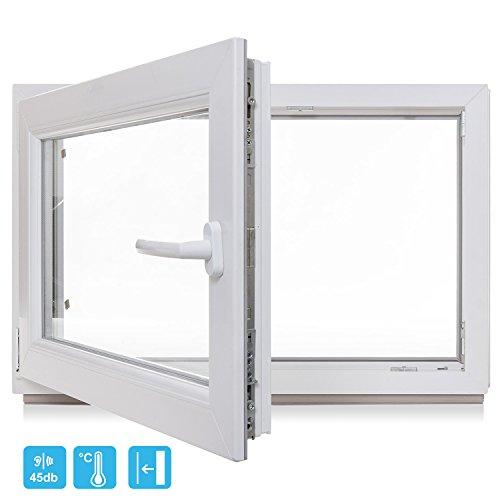 fenster 30x30 Kellerfenster - Kunststoff - Fenster - weiß - BxH 800x800 / 80x80 DIN Rechts - 3-Fach-Verglasung - Wunschmaße möglich - Lagerware
