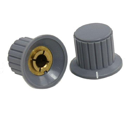 Sourcingmap Gerippte Griffzone Split Schaft 6mm Potentiometer Drehknopf–Grau/Messing Tone (10) (Gerippte)