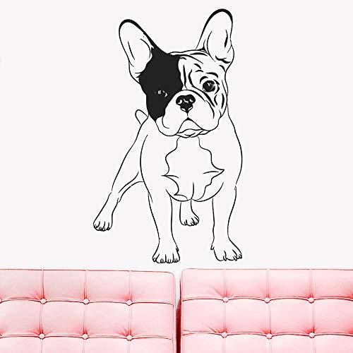 Pet Adesivo Rimovibile Bulldog Inglese Cani Decorazione Camera da Letto di casa Animali Negozio AutoadesivoDellaParete Cani Cani Casa Art Murale57x97 cm