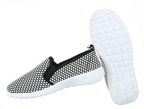 Damen Schuhe Halbschuhe Slipper Freizeitschuhe Freizeitschuhe Schwarz Grau Weiß