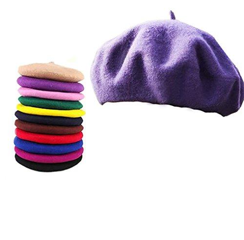 Cexin 1 pcs Béret à la mode chaud hiver Chapeau en laine et coton loisir pour femme -Taille unique Rouge