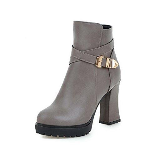 AllhqFashion Damen Spitz Zehe Hoher Absatz Niedrig-Spitze Stiefel mit Metallisch, Grau, 39
